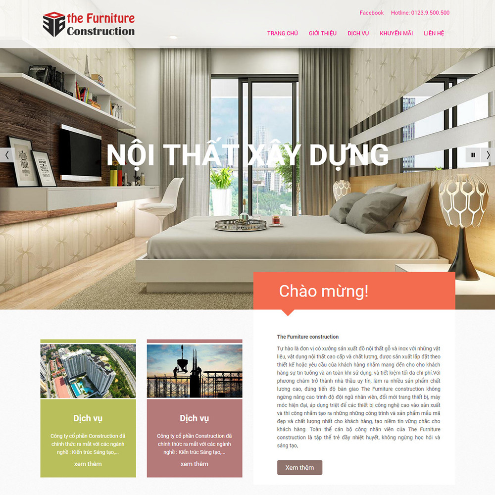 Website bán hàng Furniture Construction