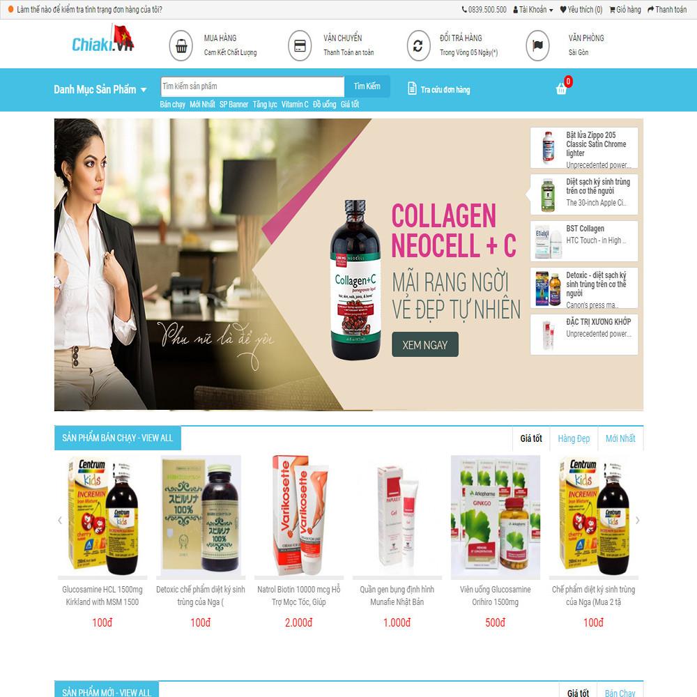 Website bán hàng dược phẩm Chiaki