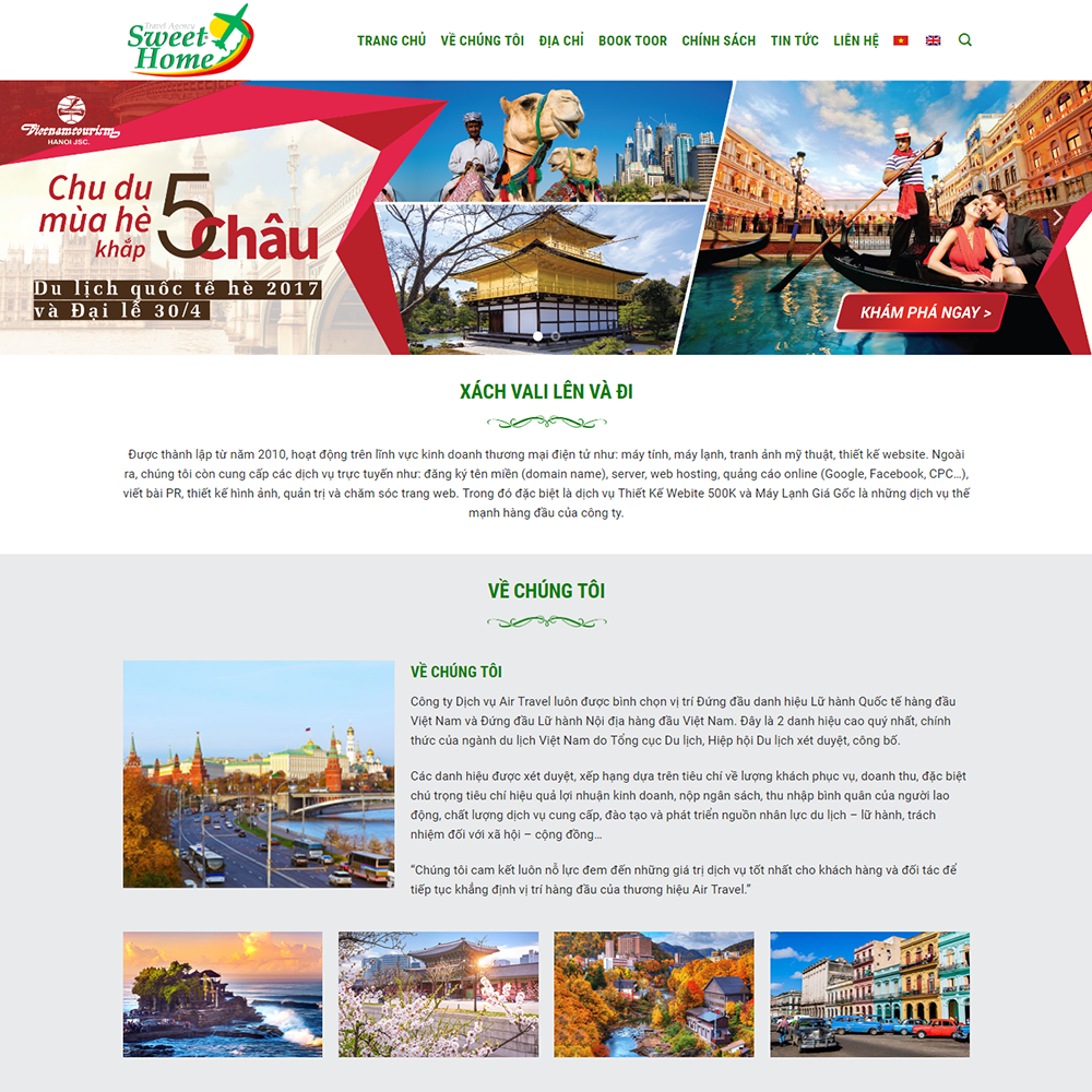 Thiết kế Website du lịch sweet home