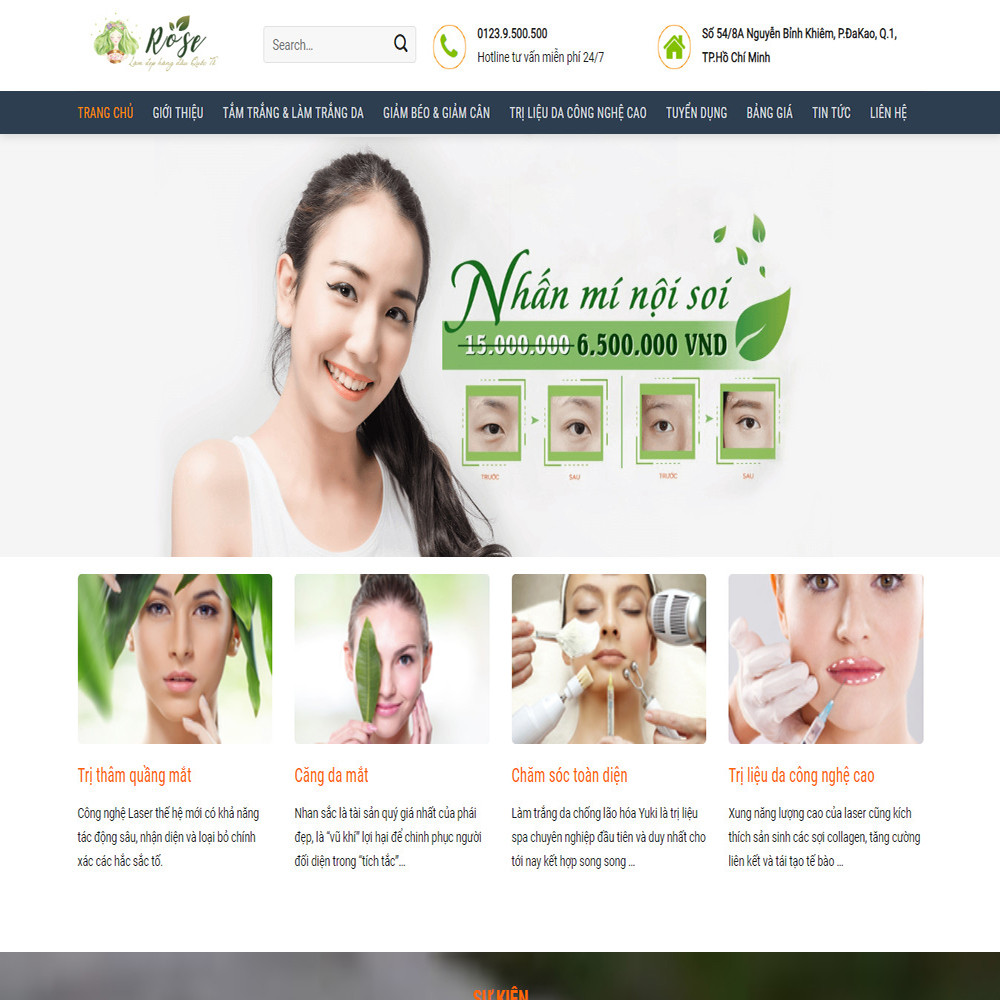 Thiết kế Website dịch vụ thẩm mỹ Spa Rose