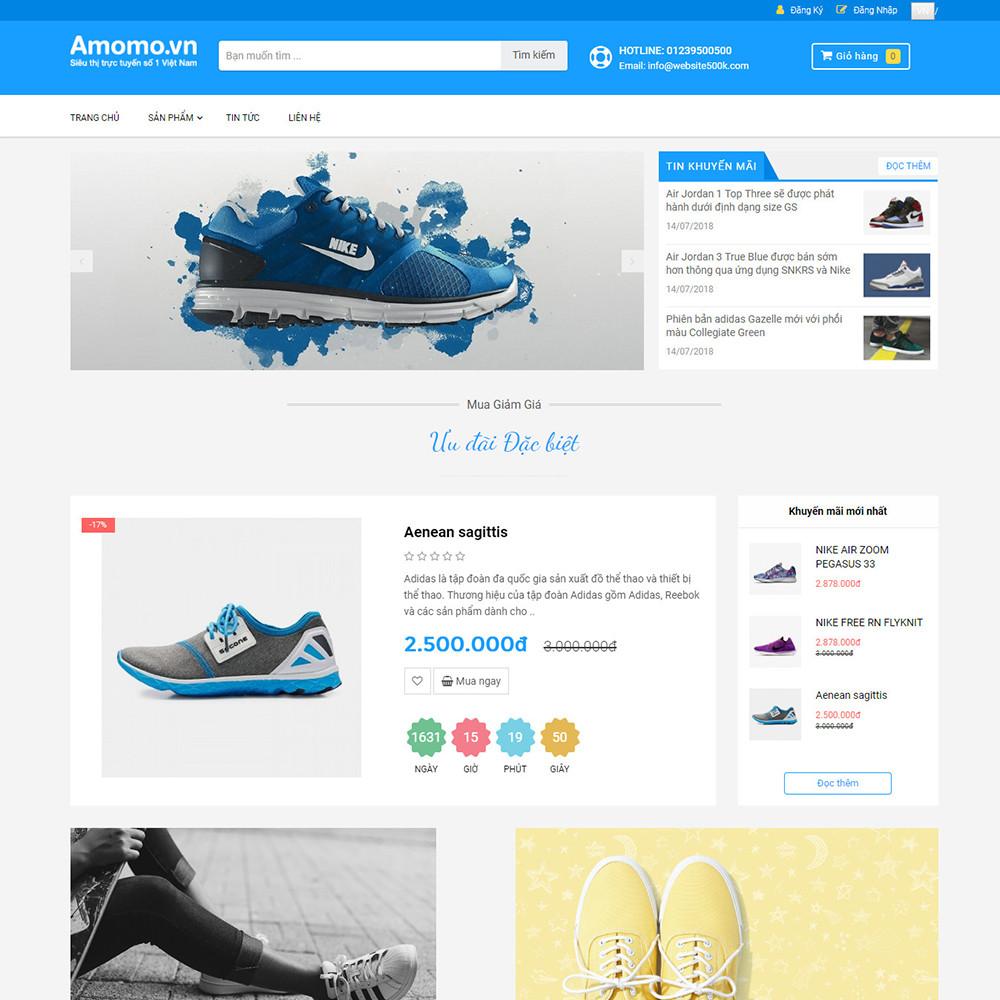 Website bán hàng giày Amomo.vn