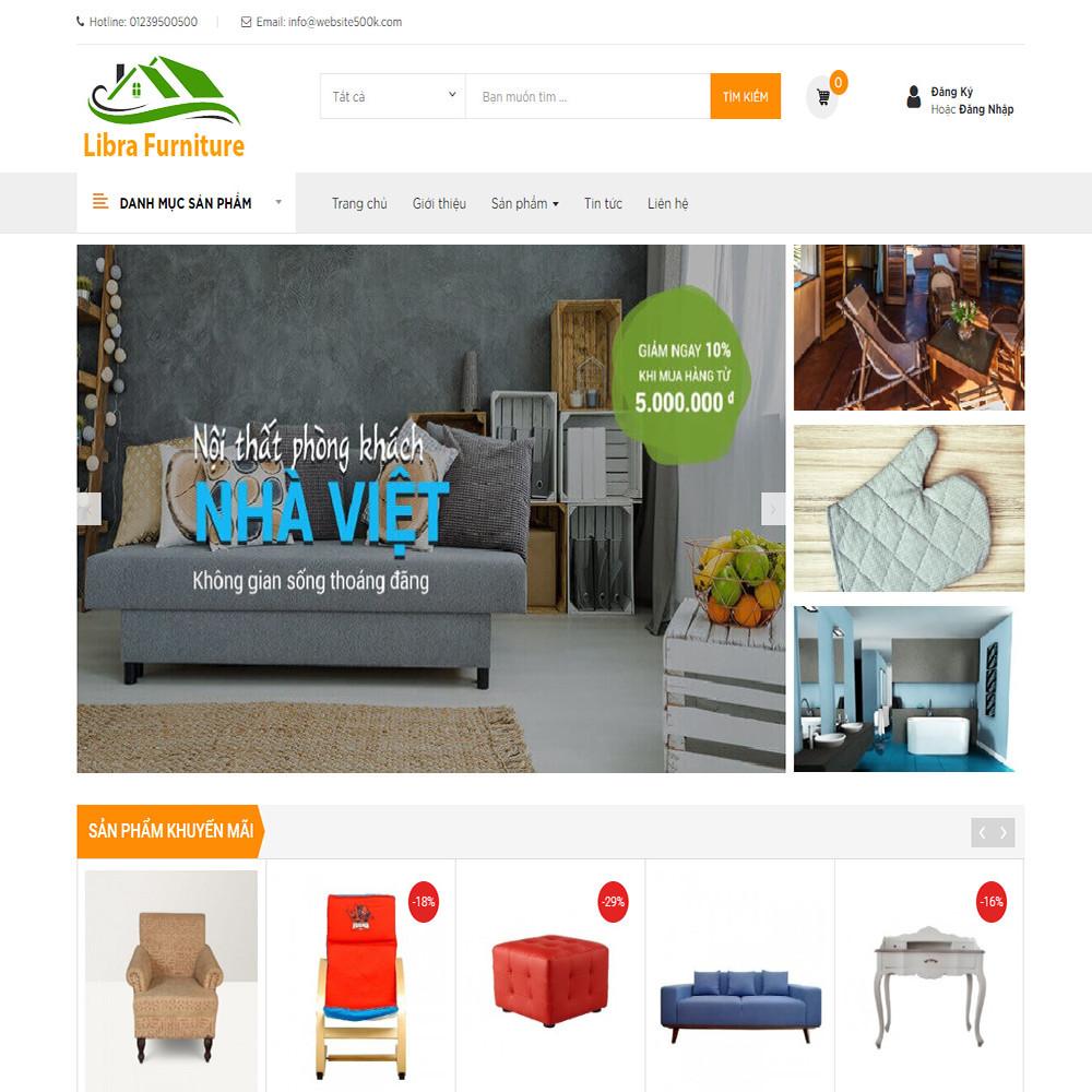 Website bán hàng nội thất Libra Furniture