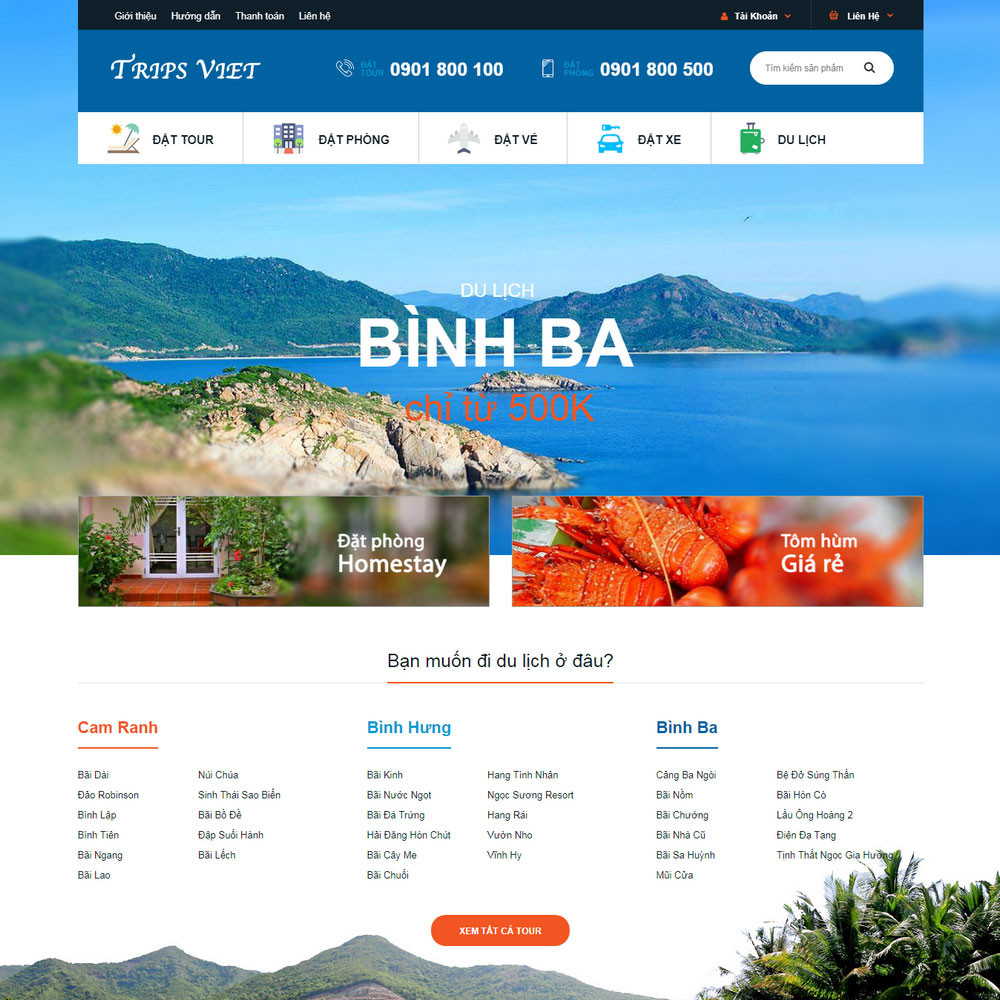 Thiết kế Website du lịch Việt