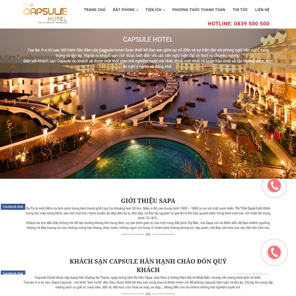 Thiết kế Website giới thiệu, đặt phòng khách sạn Capsule Hotel