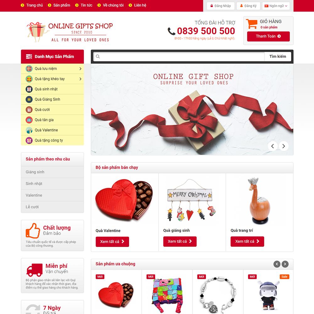 Thiết kế Website bán quà tặng Online Gifts Shop