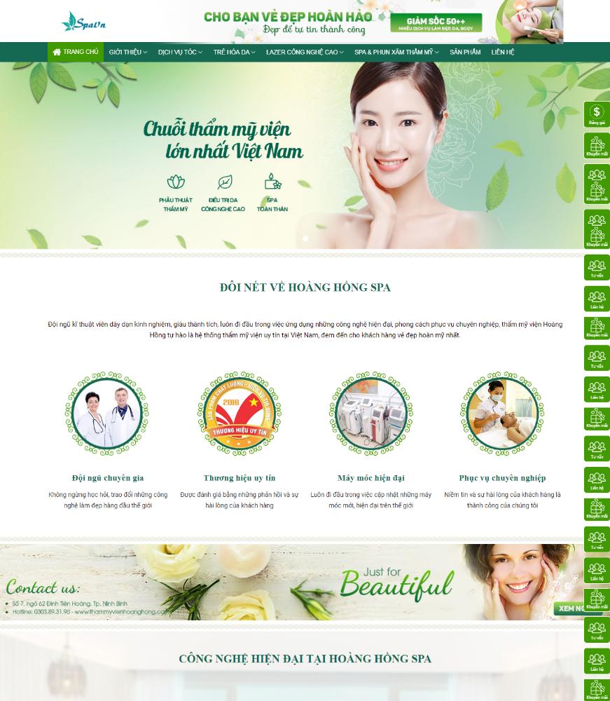 Thiết kế Website spa làm đẹp