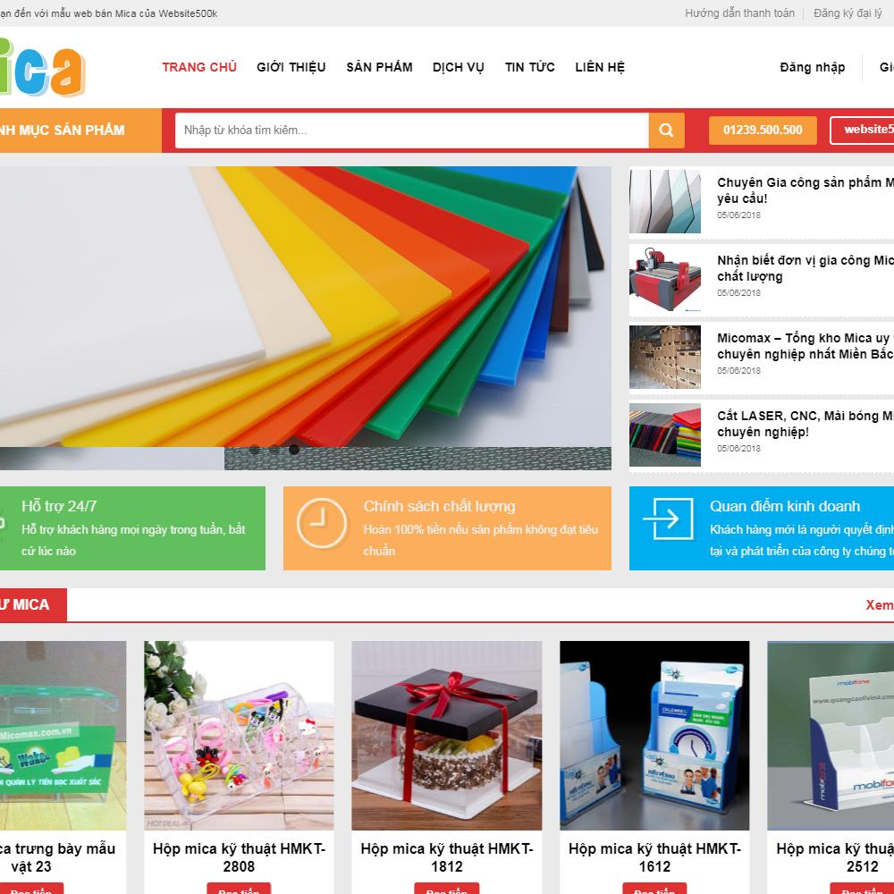 Thiết kế Website cơ sở sản xuất mica