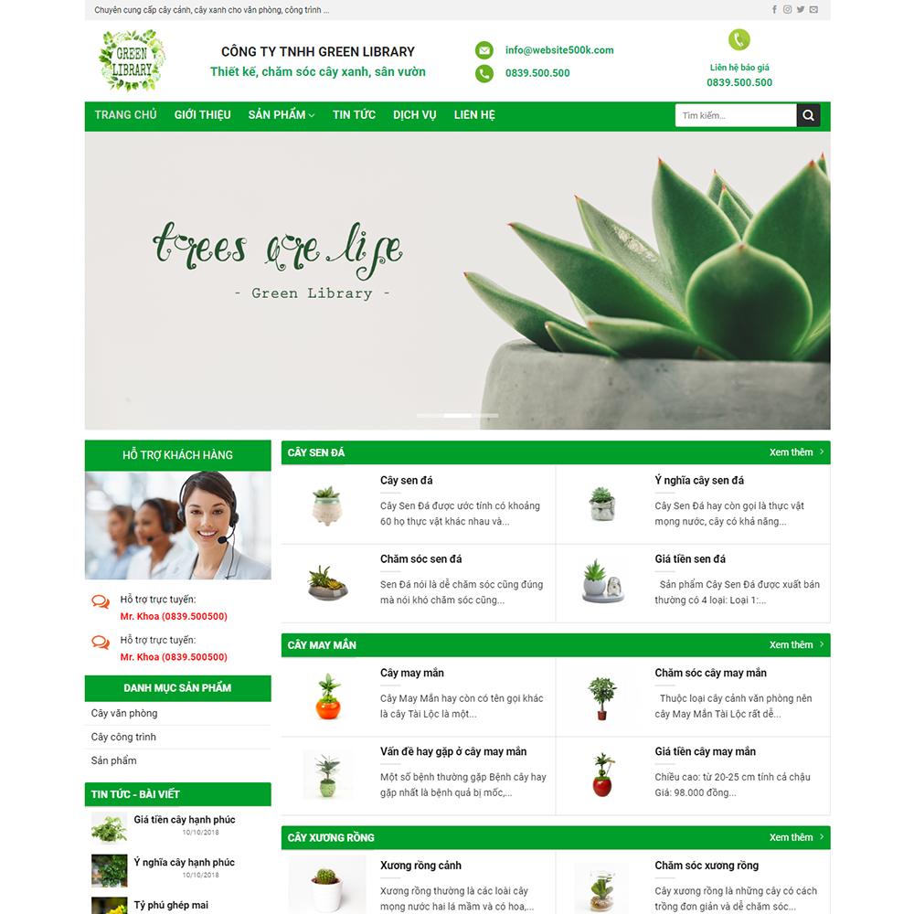 Thiết kế Website dịch vụ cây xanh Green Library