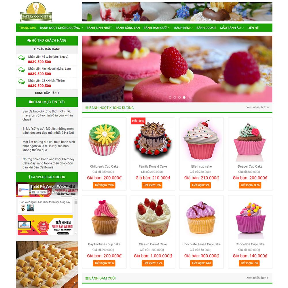 Thiết kế Website bán bánh Bakery Concepts