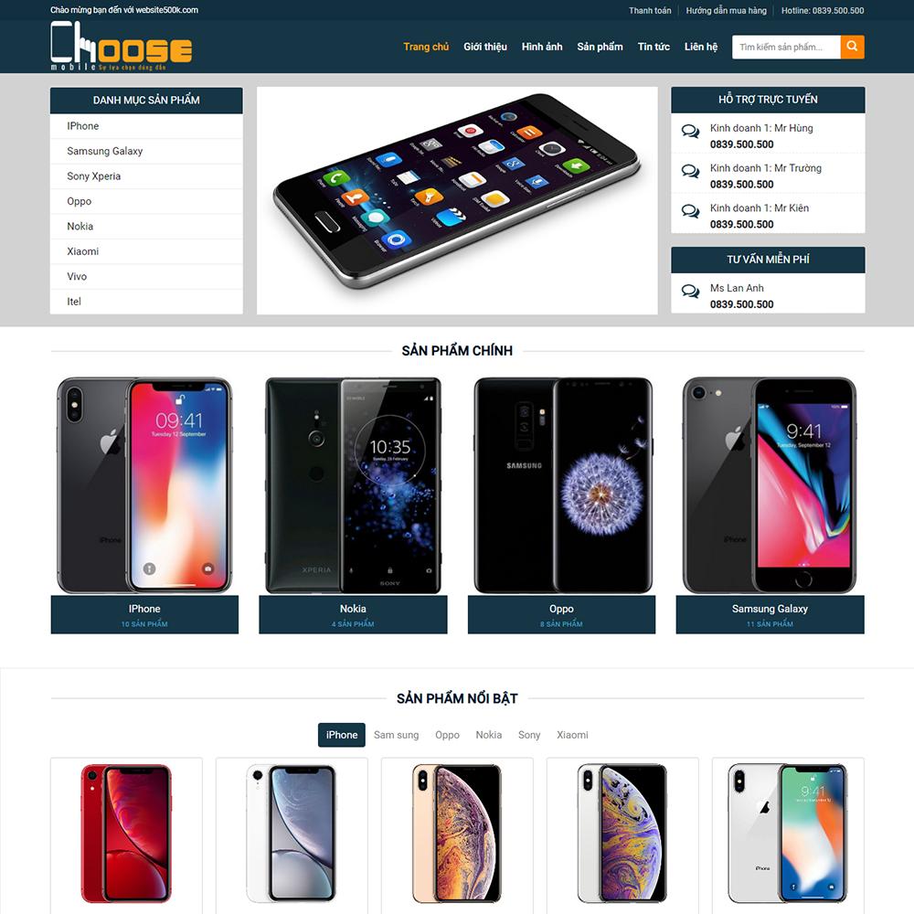 Website bán điện thoại Choose